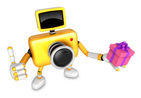 3D Yellow Camera character holding a gift. Create 3D Camera Robot Series.