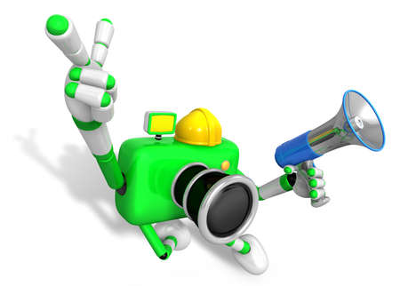 The left hand point the finger Engineer Green Camera Character. The right hand is holding a Loudspeaker. Create 3D Camera Robot Series.