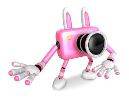 To the Right toward the Pink Camera Character guide you. Create 3D Camera Robot Series. Stock Photo