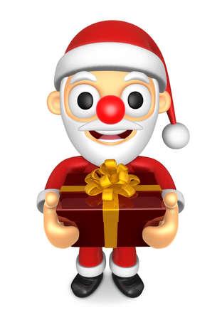 3D Santa mascot the hand is holding a Big Gift Box. 3D Christmas Character Design Series.