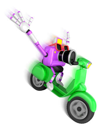 Purple camera character driving a motor cycle with fast speed. Create 3D Camera Robot Series.
