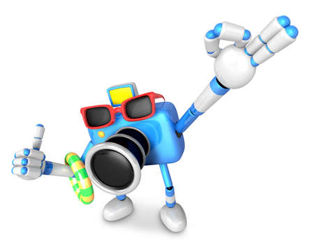 Blue Camera Character on their Vacation journey. Create 3D Camera Robot Series. Stock Photo