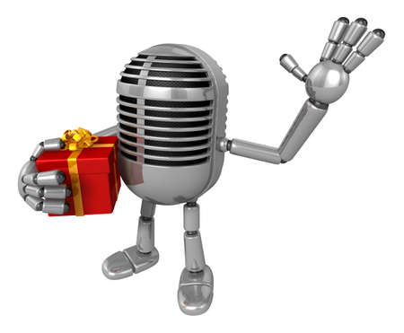3D Classic Microphone Mascot the right hand guides and the left hand is holding a Gift Box. 3D Classic Microphone Robot Character Series. Stock Photo