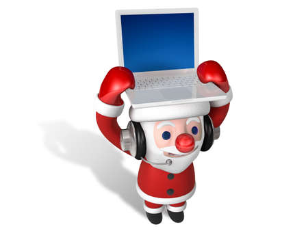 3d santa carrying laptop on his head with headphone