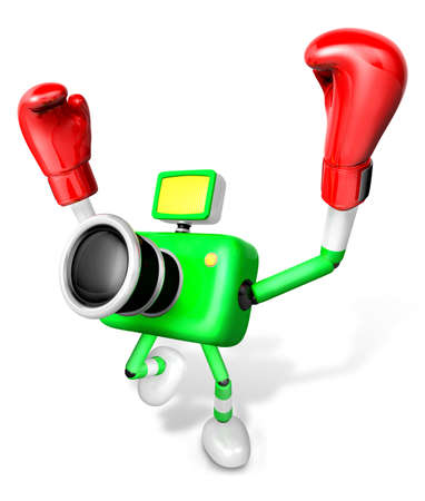 3d Green Camera Character Boxer Victory the serenade. Create 3D Camera Robot Series.