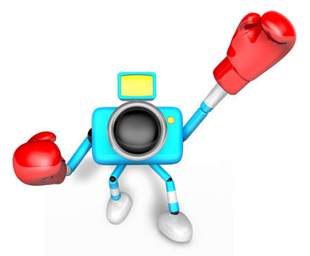 3D Cyan Camera character is doing a vigorously boxer Exercise. Create 3D Camera Robot Series. Imagens