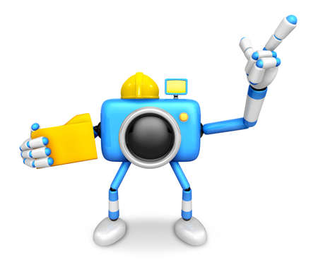 Engineer Blue Camera Character on the left hand Holding in folder. The right hand point the finger. Create 3D Camera Robot Series.