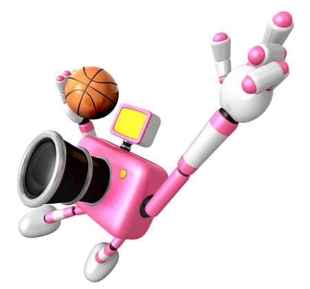 Vigorously jumping basketball player Pink Camera Character. Create 3D Camera Robot Series.