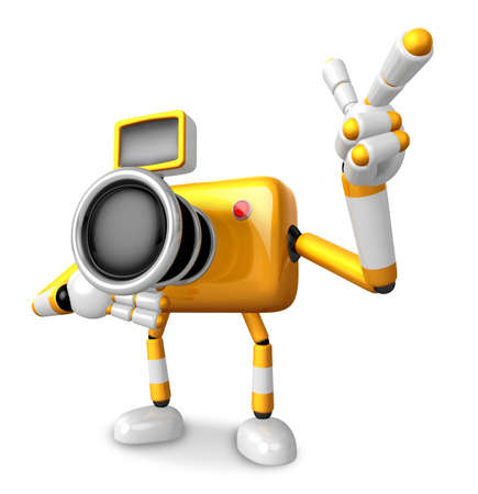 fidelidad: The Yellow Camera Character Taking the right hand is the best gesture. Instructed to gesture with the left hand is taking.  Create 3D Camera Robot Series.