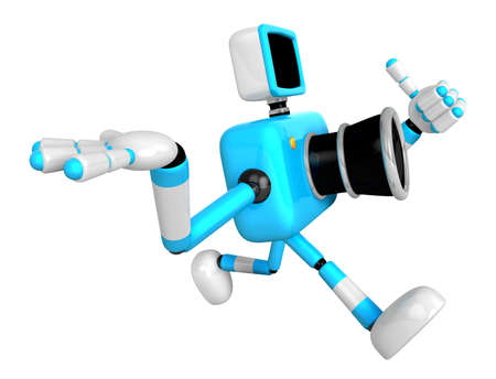 Rushing toward the left side of the Cyan Camera Character. Create 3D Camera Robot Serie.
