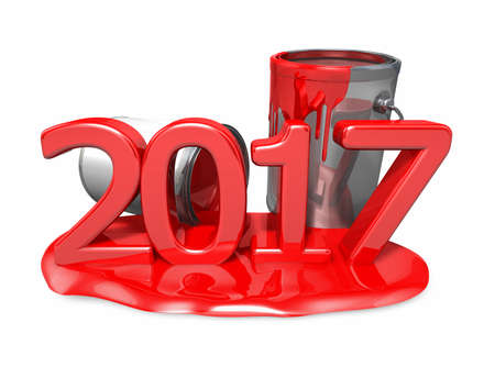 paintcan: Coloring the new 2017 year. New Year Typographic Arts Card. Stock Photo