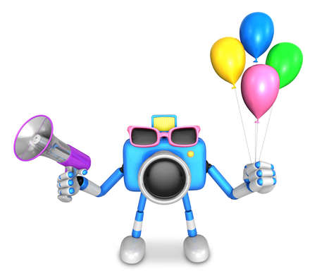 Blue camera character to the event activity. Create 3D Camera Robot Series. Stock Photo