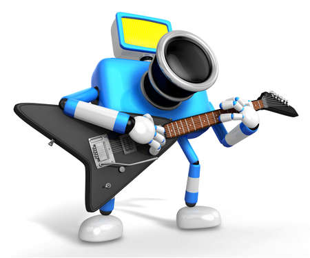 To the Right toward the Blue Camera Character playing the guitar. Create 3D Camera Robot Series. Stock Photo