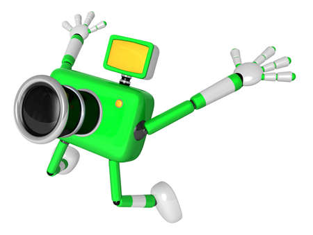 The Green Camera Character in Dynamic photos of the jump shot camera. Create 3D Camera Robot Series. Stock Photo