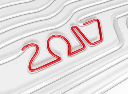 Red 2017 flows in a Glass Tube. New Year Typographic Arts Card.
