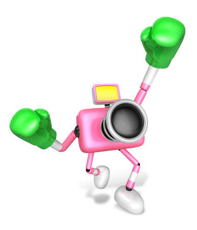 A pink Camera Character and a boxing play. Create 3D Camera Robot Series.