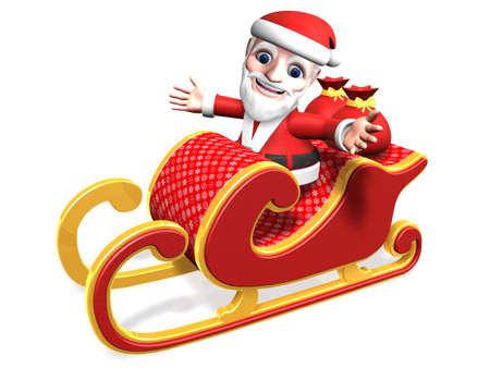 3d santa taking his christmas sled with gift sack Stock Photo