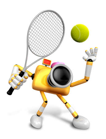 fifteen: 3D Yellow Camera character is a powerful tennis game play exercises. Create 3D Camera Robot Series. Stock Photo
