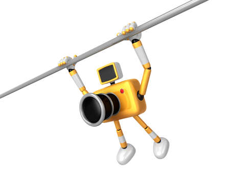 Yellow Camera character is hanging in horizontal bar. Create 3D Camera Robot Series.
