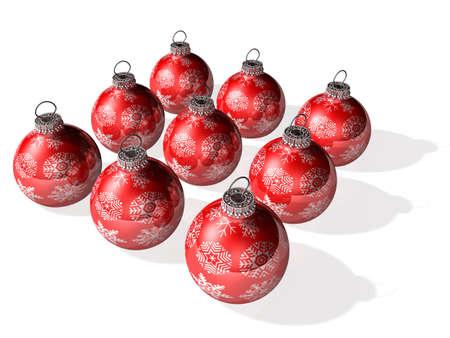 tien 3d kristallen bal voor kerstfeest Stockfoto