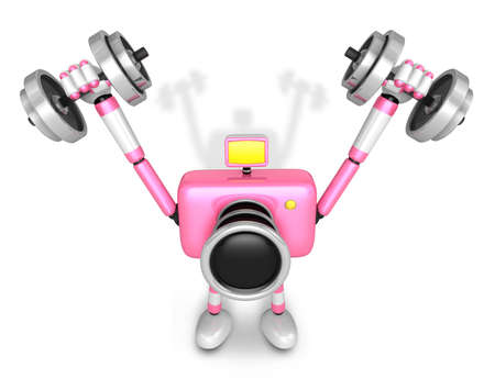 3D pink Camera character a Dumbbell Shoulders Press Exercise. Create 3D Camera Robot Series. Imagens