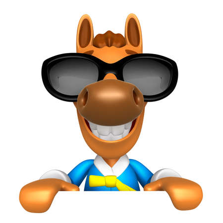 quartet: Wear sunglasses 3D Horse Mascot holding a big board with both hands. 3D Animal Character Design Series. Stock Photo
