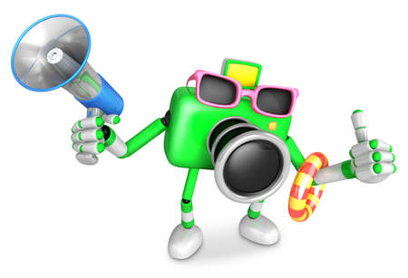 3D Green Camera Character on their Vacation journey. Create 3D Camera Robot Series.