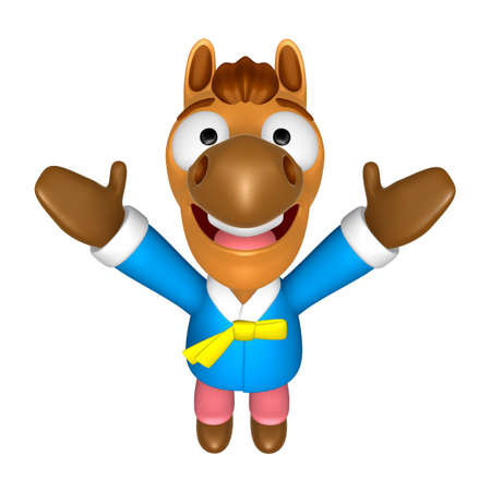 Korea Traditional 3D Horse mascot the direction of pointing with both hands. 3D Animal Character Design Series. Stock Photo
