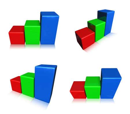 3D RGB graph icon. 3D Icon Design Series.