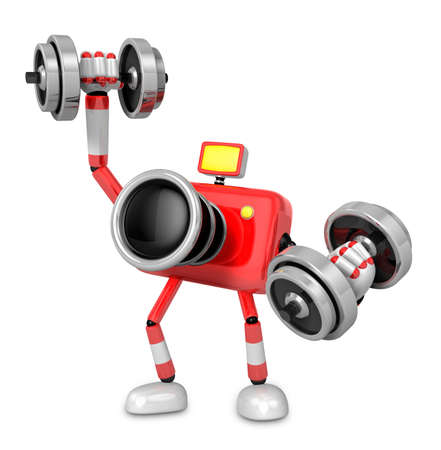 3D Red Camera character a Dumbbell one Easy Clean Exercise. Create 3D Camera Robot Series.