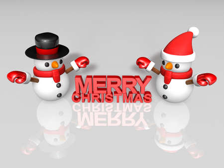 glass reflection: two 3d snowmen with hat and christmas message