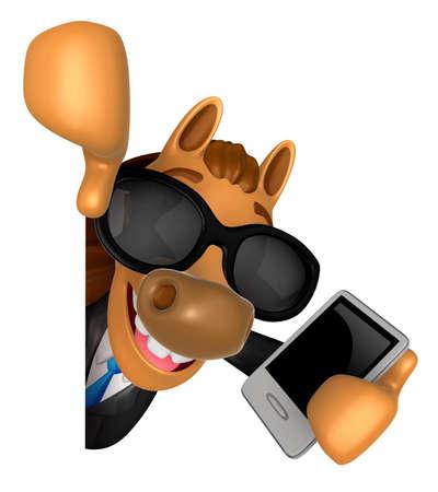 A mão 3D Horse Mascot está segurando um Smart Phone e Big advert board. 3D Animal Character Design Series. Foto de archivo