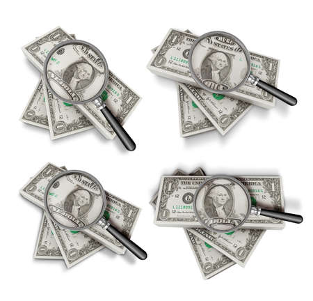 3D Dollars and magnifying glass Icon sets. Stock Photo