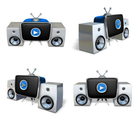 3d stereo system and woofer range four set