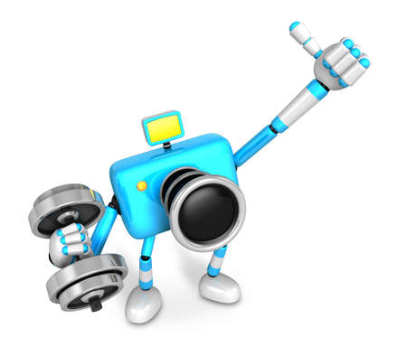 3D cyan Camera character a one Dumbbell curl Exercise. Create 3D Camera Robot Series.