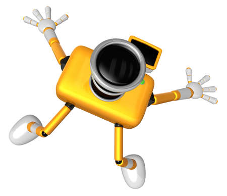The Yellow Camera Character in Dynamic photos of the jump shot camera. Create 3D Camera Robot Series. Stok Fotoğraf