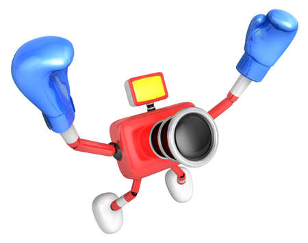 3d Red Camera Character Boxer Victory the serenade. Create 3D Camera Robot Series.