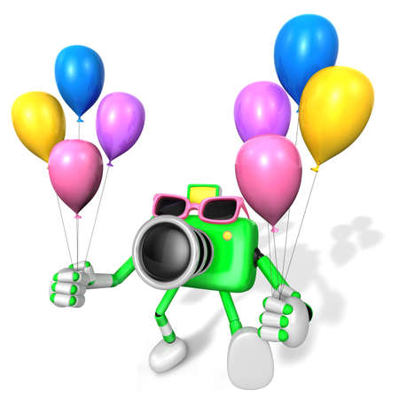 publicize: Green Camera Character holding various balloons. Create 3D Camera Robot Series.