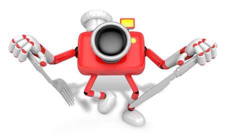Chef Red Camera Character right hand, Fork in the left hand holding a Knife. Create 3D Camera Robot Serie.
