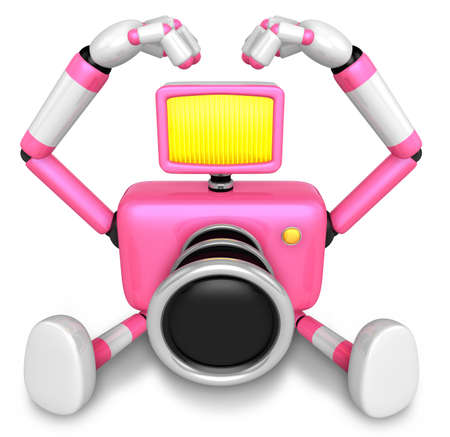 fidelidad: Gesture of love is Pink Camera Character Sit on the floor. Create 3D Camera Robot Series.