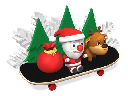 santa and rudolph on the skateboard,3d
