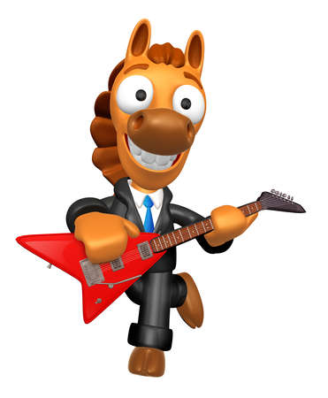 quartet: Wear sunglasses 3D Horse has to be playing the Red electric guitar. 3D Animal Character Design Series. Stock Photo