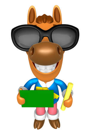 Wear sunglasses 3D Horse Mascot hand is holding a Chalk and Chalkboard. 3D Animal Character Design Series. Stock Photo