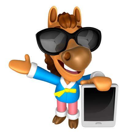 Wear sunglasses 3D Horse mascot the left hand guides and the right hand is holding a tablet PC. 3D Animal Character Design Series. Stock Photo