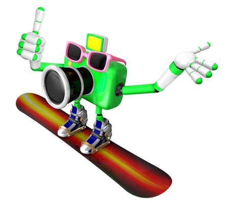 fidelidad: 3d Green Camera Character snowboard a riding. Create 3D Camera Robot Series.
