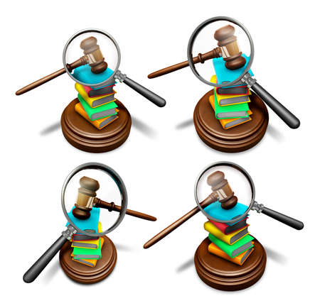 3D Books and magnifying glass Icon sets.