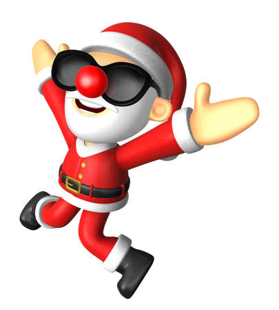 Wear sunglasses 3D Santa character is written to be powerful and jumping. 3D Christmas Character Design Series.