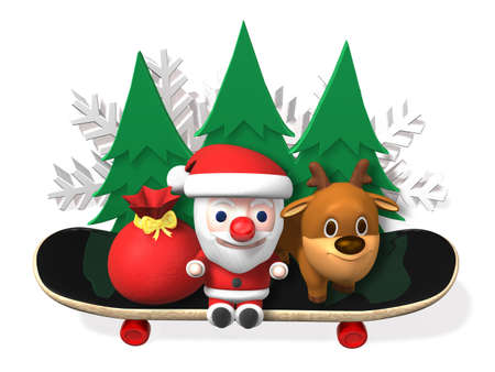 christmas tree illustration: santa and rudolf on the board with trees,3d