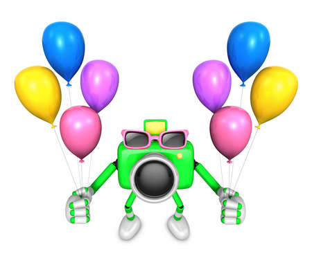 Green camera character to the event activity. Create 3D Camera Robot Series.