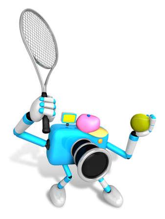 3D Sky Blue Camerakarakter is een krachtige tennisgame-speloefening. Creëer 3D Camera Robot Series.